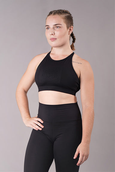 Off The Pole Embossed Sports Bra - Black-Off The Pole-Pole Junkie