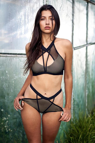 Mesh Strappy High Waisted Bottoms - Black-Hamade Activewear-Pole Junkie