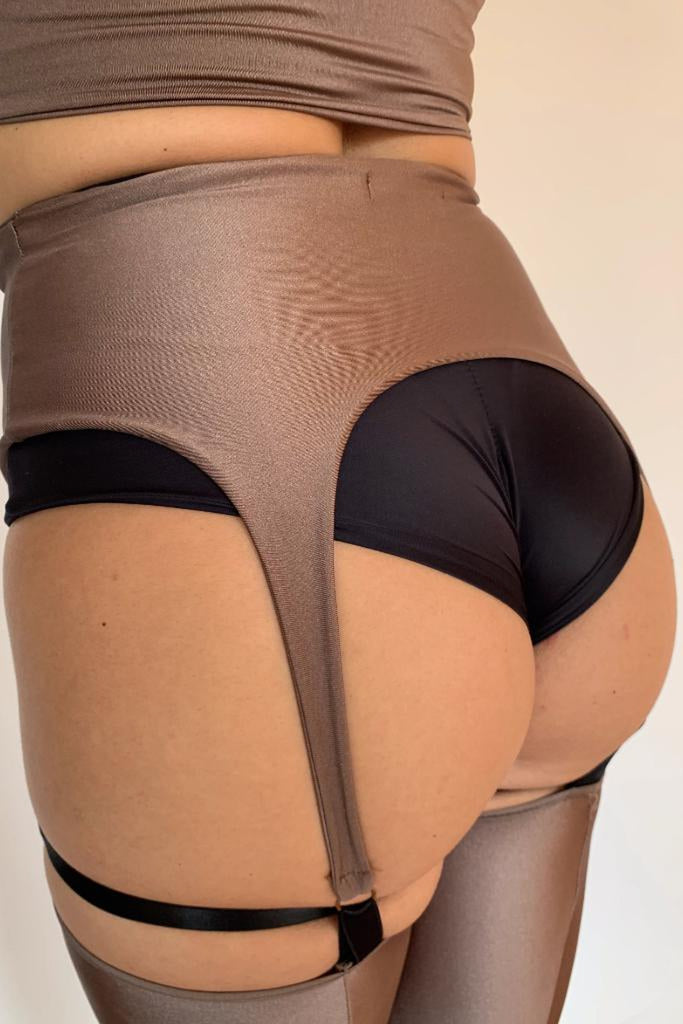 Sorte Incantation Garter Leggings - Taupe-Sorte-Pole Junkie