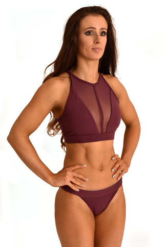 Mesh Sports Bra - Burgundy-Off The Pole-Pole Junkie