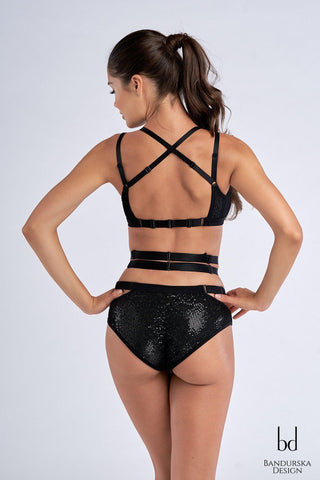 Chiara Top - Black Sparkle-Bandurska-Pole Junkie