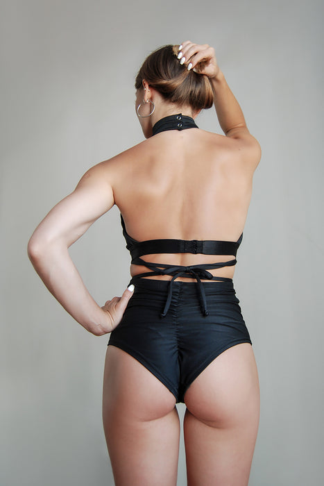 Scrunch Butt Basic High Waist Shorts - Black-Pole Addict-Pole Junkie