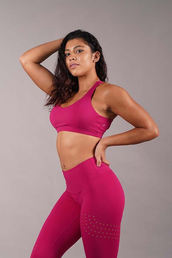 Off The Pole Criss Cross Sports Bra - Fuchsia-Off The Pole-Pole Junkie