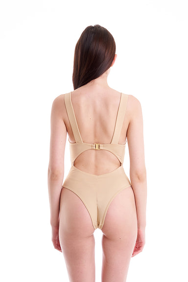 Hamade Activewear Cut Out Bodysuit - Beige-Hamade Activewear-Pole Junkie