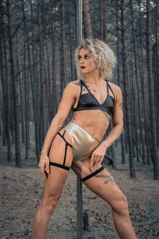 Sasha Meow High Waist Garter Shorts - Gold-Paradise Chick-Pole Junkie