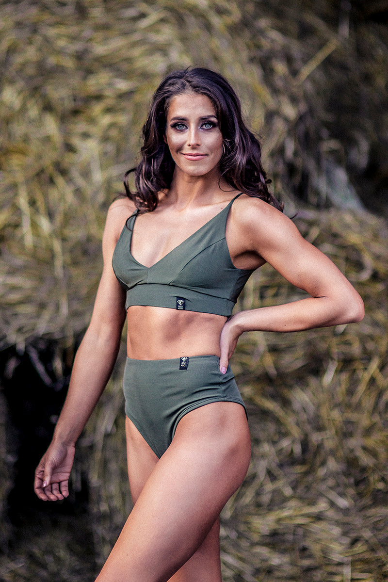 Pole Addict Mona High Leg Bottoms - Army Green-Pole Addict-Pole Junkie