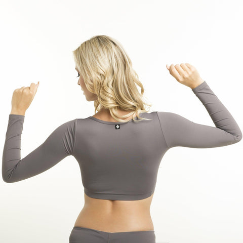 Long-Sleeve Ballerina Top - Grey-Poledancerka-Pole Junkie