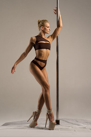 Hamade Activewear Asymmetric High Cut Bottoms - Dark Brown-Hamade Activewear-Pole Junkie