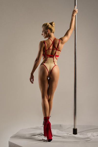 High Waisted Sling Bottoms - Sand/Red-Hamade Activewear-Pole Junkie