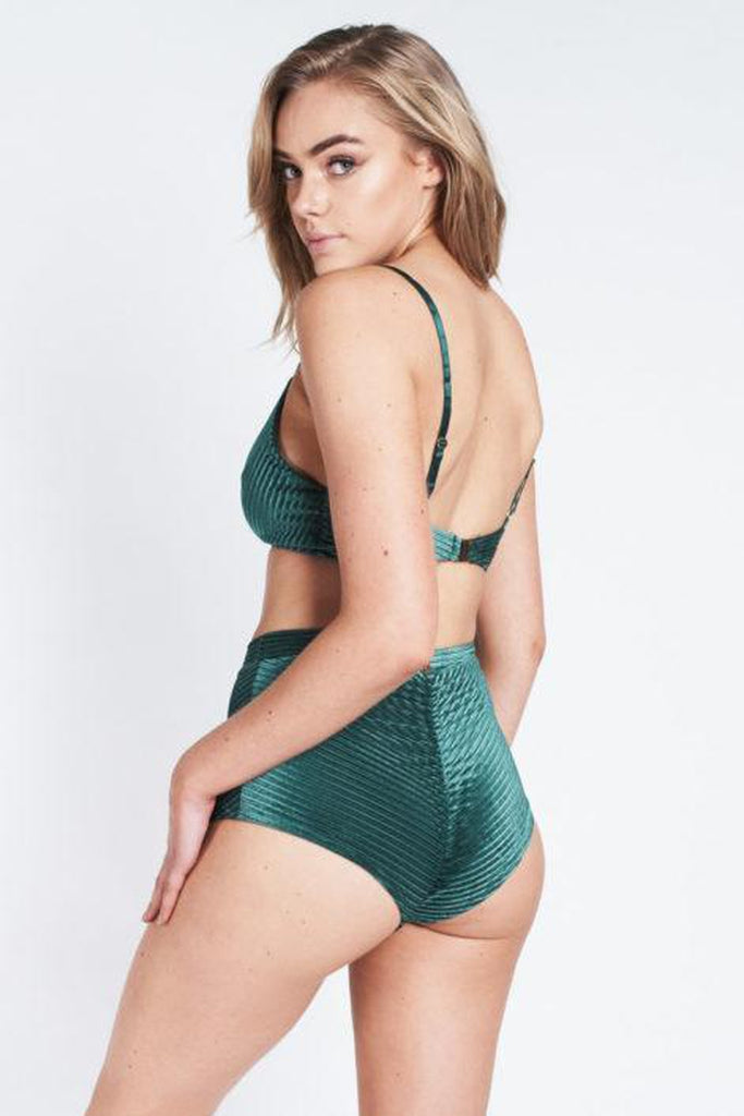 Lana High Waist Shorts - Emerald Velvet-Luna Pole Wear-Pole Junkie