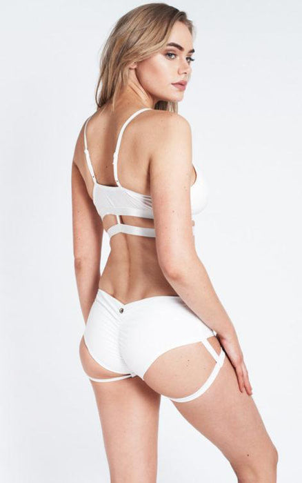 Lure You Low-Rise Garter Shorts - White-Luna Pole Wear-Pole Junkie