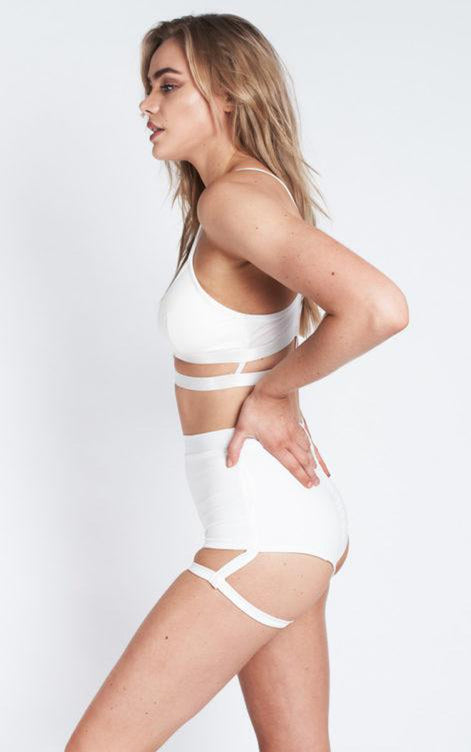Lunalae Lure You High Waisted Garter Shorts - White-Lunalae-Pole Junkie