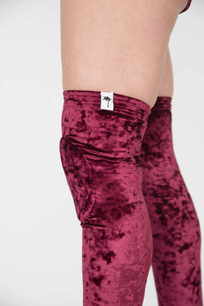 Paradise Chick Animal Velvet Leg Warmers (with kneepads) - Burgundy-Paradise Chick-Pole Junkie