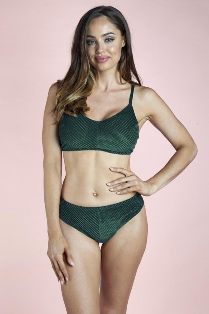 Lana Low Rise Shorts - Emerald Velvet-Luna Pole Wear-Pole Junkie