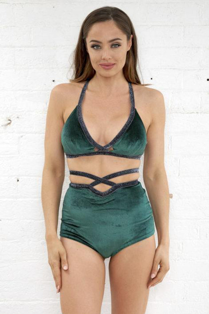 Sienna High Waist Shorts – Emerald-Luna Pole Wear-Pole Junkie