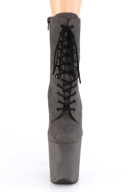 Pleaser USA Flamingo-1020FS Faux Suede 8inch Pleaser Boots - Grey-Pleaser USA-Pole Junkie