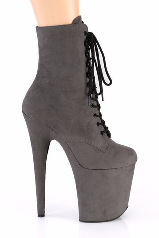 Flamingo-1020FS Faux Suede 8inch Pleaser Boots - Grey-Pleaser USA-Pole Junkie