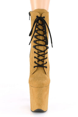 Flamingo-1020FS Faux Suede 8inch Pleaser Boots - Mustard-Pleaser USA-Pole Junkie