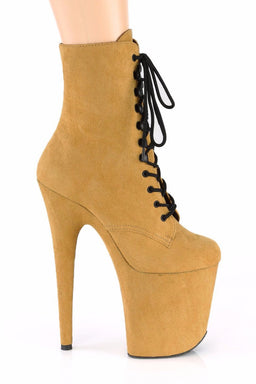 Pleaser USA Flamingo-1020FS Faux Suede 8inch Pleaser Boots - Mustard-Pleaser USA-Pole Junkie