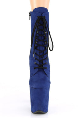 Flamingo-1020FS Faux Suede 8inch Pleaser Boots - Royal Blue