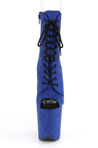 Flamingo-1021FS Faux Suede 8inch Peep Toe Pleaser Boots - Royal Blue-Pleaser USA-Pole Junkie