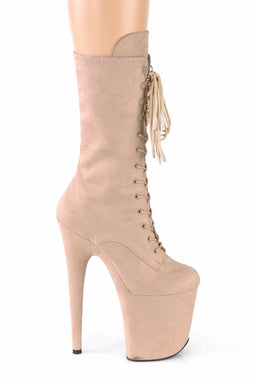 Pleaser USA Flamingo-1050FS Faux Suede 8inch Pleaser Boots - Beige-Pleaser USA-Pole Junkie