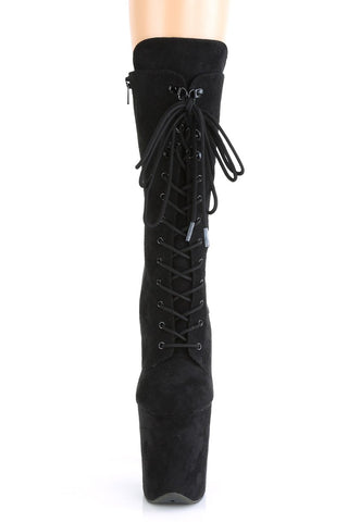 Flamingo-1050FS Faux Suede 8inch Pleaser Boots - Black-Pleaser USA-Pole Junkie