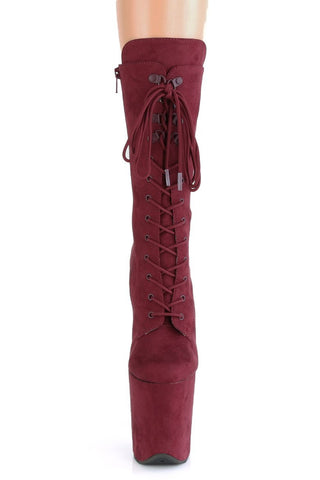Flamingo-1050FS Faux Suede 8inch Pleaser Boots - Burgundy-Pleaser USA-Pole Junkie