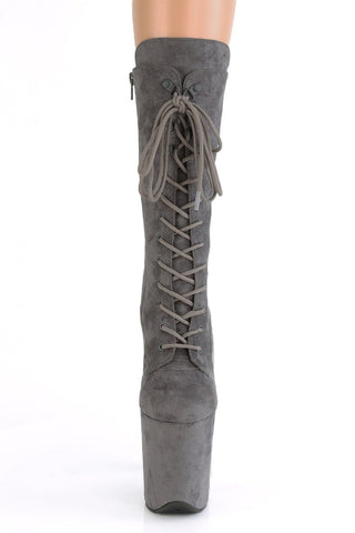 Flamingo-1050FS Faux Suede 8inch Pleaser Boots - Grey-Pleaser USA-Pole Junkie