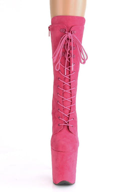Pleaser USA Flamingo-1050FS Faux Suede 8inch Pleaser Boots - Hot Pink-Pleaser USA-Pole Junkie