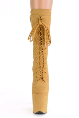 Pleaser USA Flamingo-1050FS Faux Suede 8inch Pleaser Boots - Mustard-Pleaser USA-Pole Junkie