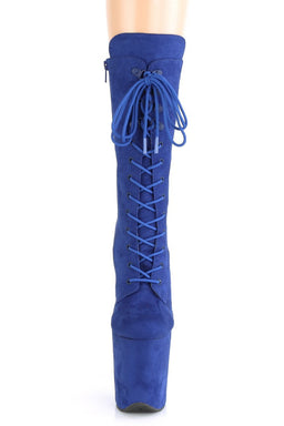 Flamingo-1050FS Faux Suede 8inch Pleaser Boots - Royal Blue-Pleaser USA-Pole Junkie
