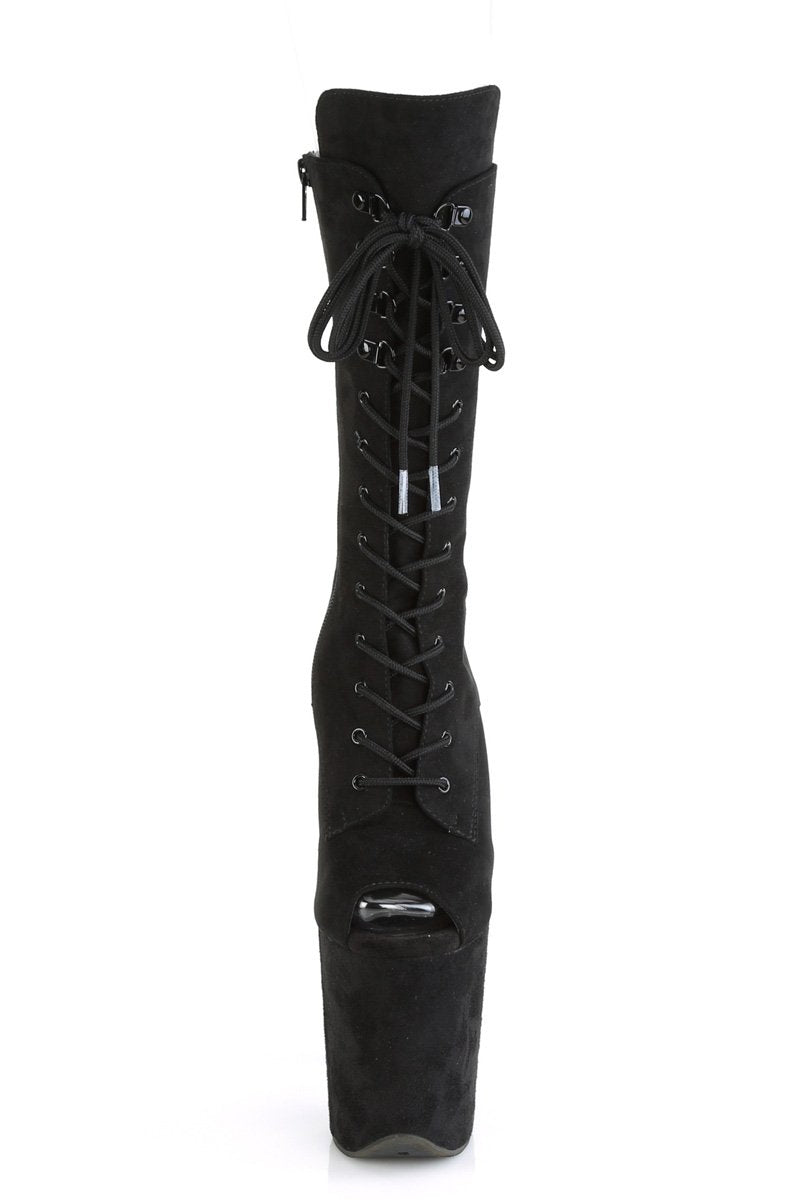 Pleaser USA Flamingo-1051FS Faux Suede 8inch Peep Toe Pleaser Boots - Black-Pleaser USA-Pole Junkie