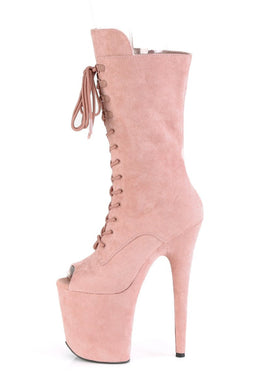 Flamingo-1051FS Faux Suede 8inch Peep Toe Pleaser Boots - Dusty Blush-Pleaser USA-Pole Junkie