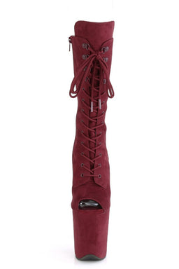 Pleaser USA Flamingo-1051FS Faux Suede 8inch Peep Toe Pleaser Boots - Burgundy-Pleaser USA-Pole Junkie