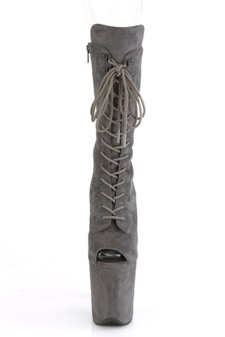 Flamingo-1051FS Faux Suede 8inch Peep Toe Pleaser Boots - Grey-Pleaser USA-Pole Junkie