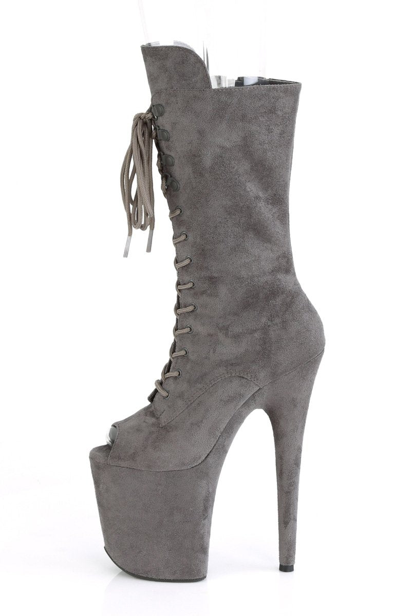 Pleaser USA Flamingo-1051FS Faux Suede 8inch Peep Toe Pleaser Boots - Grey-Pleaser USA-Pole Junkie