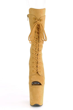 Pleaser USA Flamingo-1051FS Faux Suede 8inch Peep Toe Pleaser Boots - Mustard-Pleaser USA-Pole Junkie