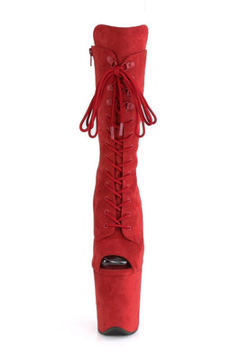 Pleaser USA Flamingo-1051FS Faux Suede 8inch Peep Toe Pleaser Boots - Red-Pleaser USA-Pole Junkie