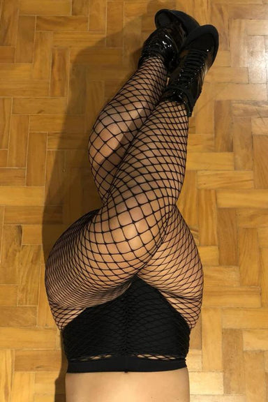 Rolling Black Fishnet Tights-Rolling-Pole Junkie