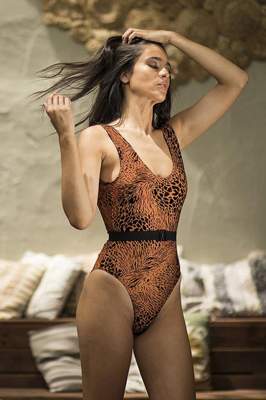 Paradise Chick Frankie Belted Bodysuit - Rust-Paradise Chick-Pole Junkie
