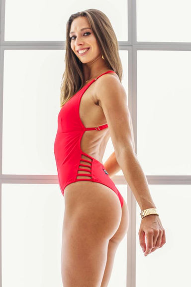 Shark Polewear Tropicana Bodysuit - Red-Shark Polewear-Pole Junkie