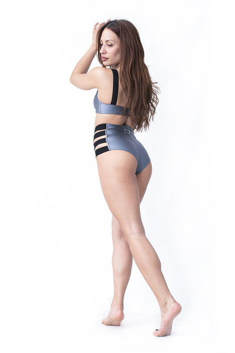 High Waisted Shorts - Grey-Paradise Chick-Pole Junkie
