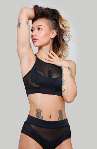 Goddess Halter Top - Black with Black Mesh-Creatures of XIX-Pole Junkie