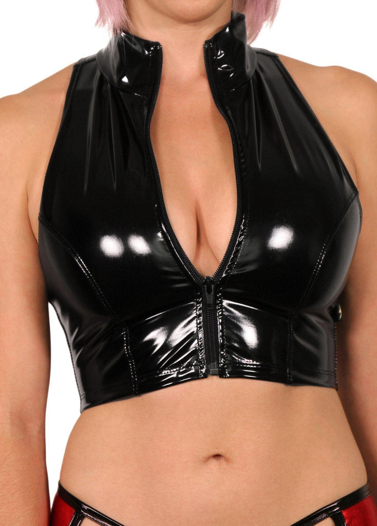 Heroine Liquid Zip-Up Vest - Black-Cleo the Hurricane-Pole Junkie
