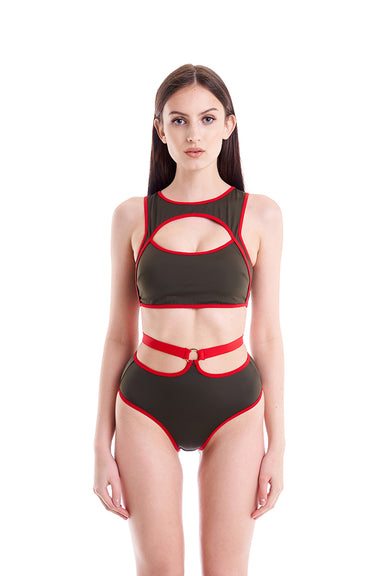 Hamade Activewear High Waist O-Ring Bottoms - Army Green/Red-Hamade Activewear-Pole Junkie
