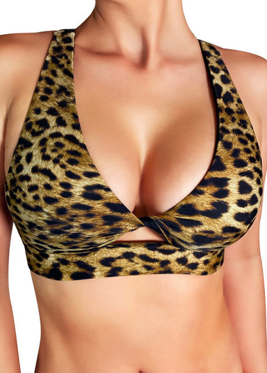 Cleo the Hurricane Fawnia Twist Sports Bra - Leopard-Cleo the Hurricane-Pole Junkie