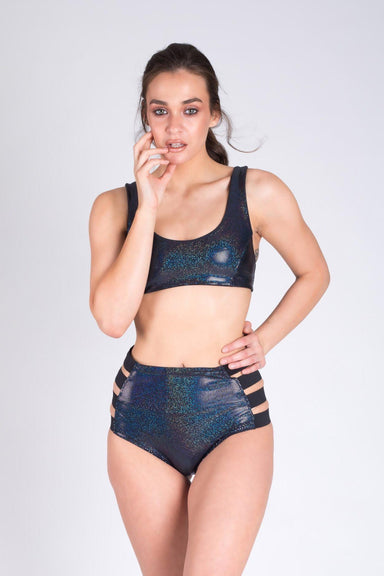 Paradise Chick Action Top - Black Sparkle-Paradise Chick-Pole Junkie