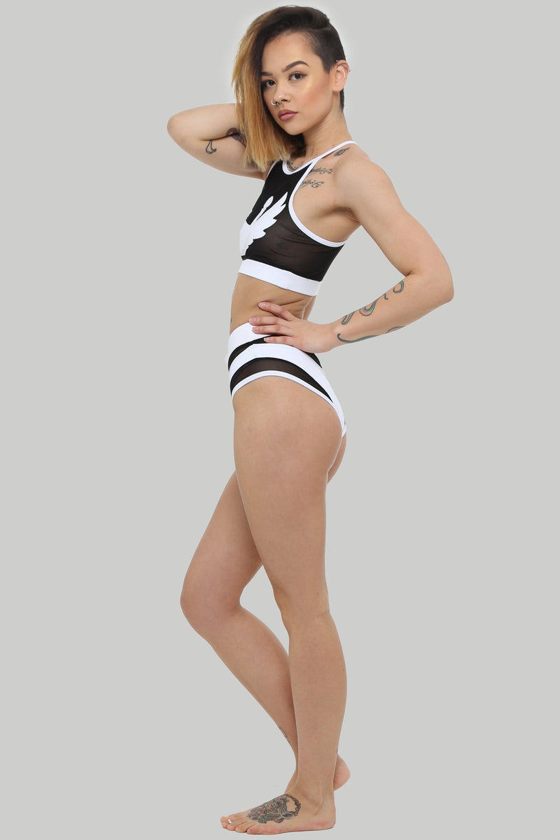 Creatures of XIX I S I S High Waisted Bottoms - White with Black Mesh-Creatures of XIX-Pole Junkie