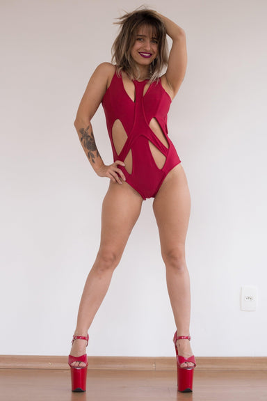 Sorcery Bodysuit - Red-Sorte-Pole Junkie